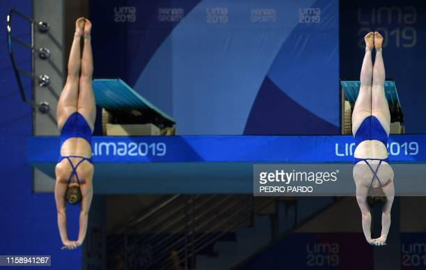 Brooke Schultz and Sarah Bacon compete in the Women's Synchronised 3m Springboard Final of the Lima 2019 Pan-American Games in Lima on August 1, 2019.