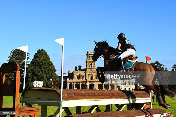 Brooke Searle of Victoria riding Edenvale Joshua in the CCIJ 1 star Cross Country event during the Saddleworld Melbourne International 3 Day Event at...