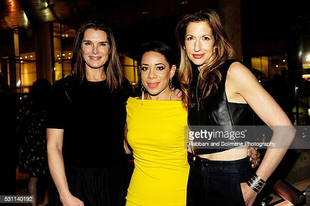 Brooke Sheilds Selenis Leyva and Alysia Reiner attends The New York Premiere Of EPIX's Under the Gun Reception at Lincoln on May 12 2016 in New York...