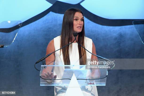 Brooke Sheilds speaks onstage at the Accessories Council's 21st Annual celebration of the ACE awards at Cipriani 42nd Street on August 7 2017 in New...