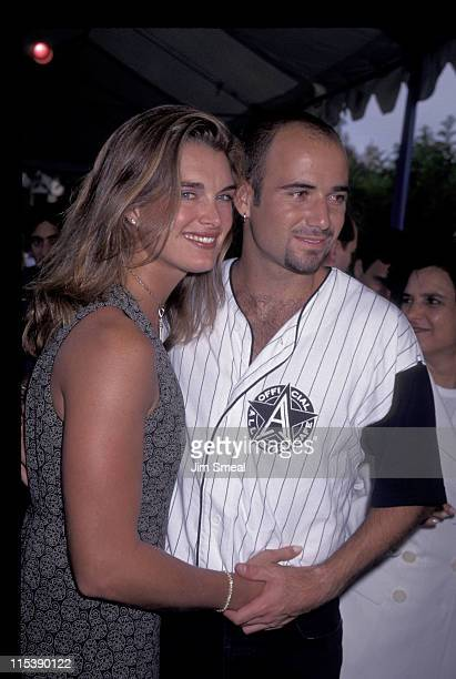 Brooke Shields and Andre Agassi during An Evening at the Net Benefit Permanent Charities Committee at UCLA Tennis Center in Los Angeles CA United...