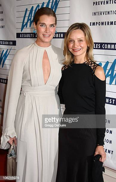Brooke Shields and Calista Flockhart during LA Commission on Assaults Against Women Hosts its 31st Annual Humanitarian Awards at Fairmont Miramar...