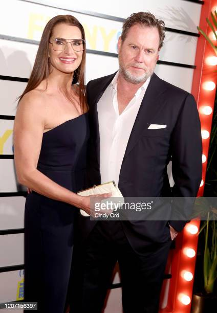 """Brooke Shields and Chris Henchy attend the """"Impractical Jokers: The Movie"""" New York Screening at AMC Lincoln Square Theater on February 18, 2020 in..."""