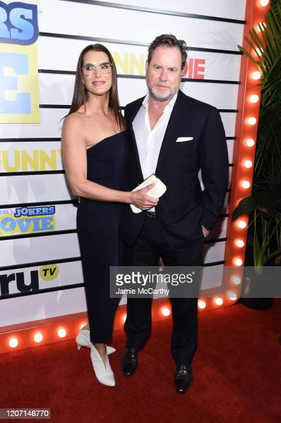 Brooke Shields and Chris Henchy attend the screening of Impractical Jokers The Movie at AMC Lincoln Square Theater on February 18 2020 in New York...