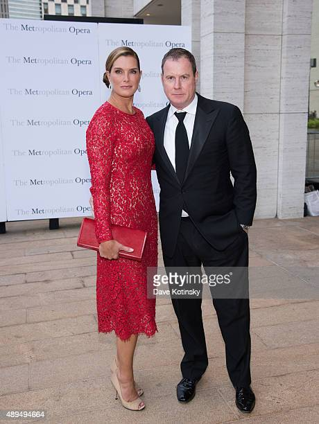 Brooke Shields and Chris Henchy attends the Metropolitan Opera 20152016 season opening night of Otello at The Metropolitan Opera House on September...