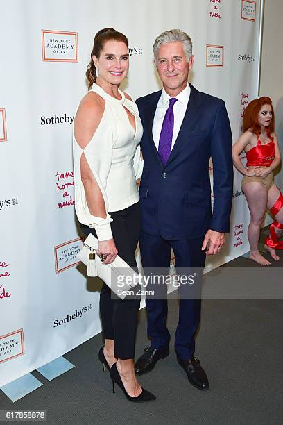 Brooke Shields and David Kratz attend 2016 Take Home a Nude Benefiting New York Academy of Art at Sotheby's on October 24 2016 in New York City