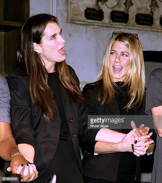 Brooke Shields and Jennifer Aniston attends the curtain call for the 9th annual 24 Hour Plays at the American Airlines Theatre on November 9 2009 in...