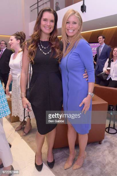 Brooke Shields and Jill Martin attend the 'New Qurate Retail Group' Opening Bell Ceremony at NASDAQ MarketSite on June 12 2018 in New York City