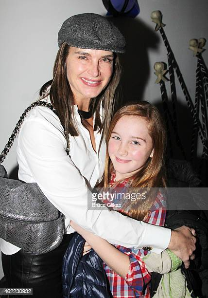 Brooke Shields and Rowan Henchy pose backstage at the new Edgar Allan Poe musical Nevermore at The New World Stages on January 25 2015 in New York...