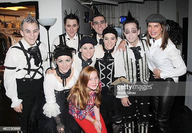 Brooke Shields and Rowan Henchy pose with the cast backstage at the new Edgar Allan Poe musical Nevermore at The New World Stages on January 25 2015...