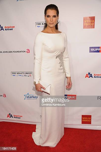 Brooke Shields attends the Elton John AIDS Foundation's 11th Annual An Enduring Vision Benefit at Cipriani Wall Street on October 15 2012 in New York...