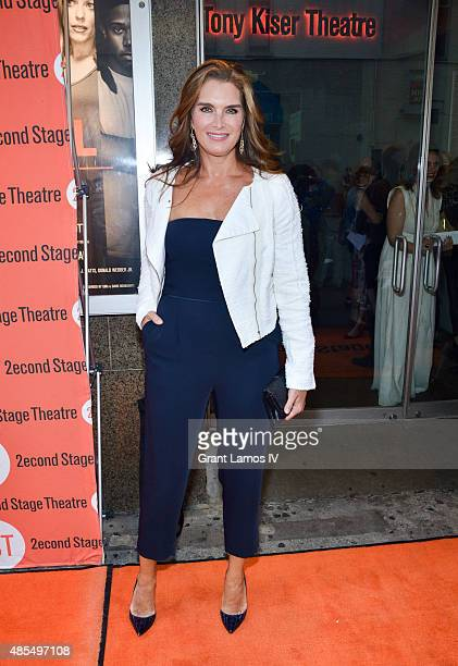 Brooke Shields attends the 'Whorl Inside A Loop' offbroadway opening night at Second Stage Theatre on August 27 2015 in New York City