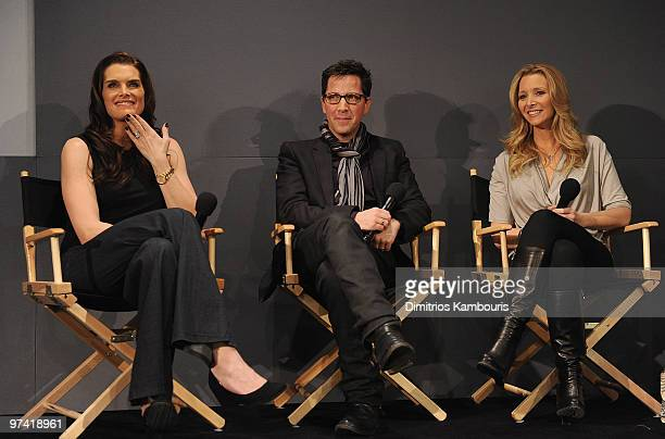 Brooke Shields executive producer Dan Bucatinsky and Lisa Kudrow promote Who Do You Think You Are at the Apple Store Soho on March 3 2010 in New York...