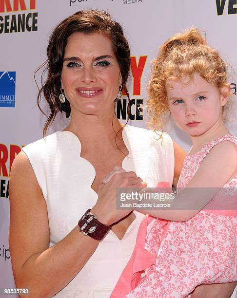 Brooke Shields Grier Hammond Henchy Rowan Francis Henchy and Chris Henchy arrive at the 'Furry Vengeance' premiere at Mann Bruin Theatre on April 18...