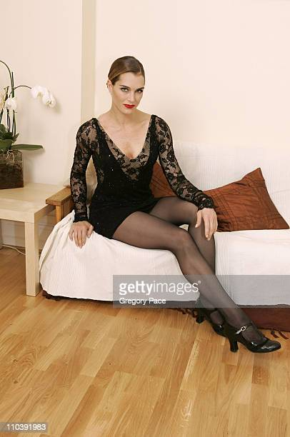"""Brooke Shields in costume as """"Roxie Hart"""" poses in her dressing room before the show *Exclusive*"""