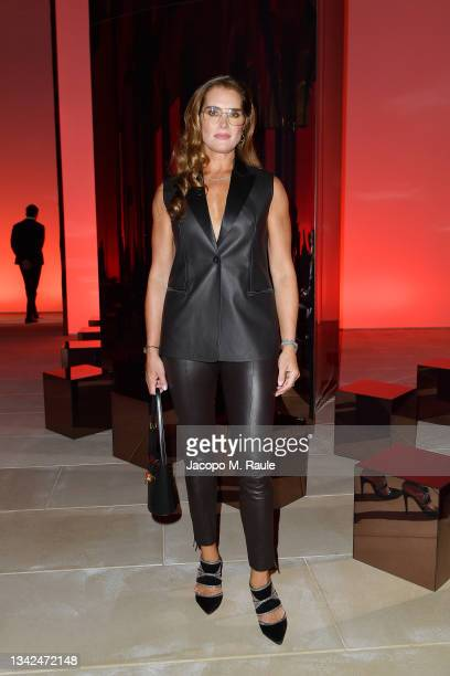 Brooke Shields is seen at the front row of Salvatore Ferragamo Spring/Summer 2022 on September 25, 2021 in Milan, Italy.