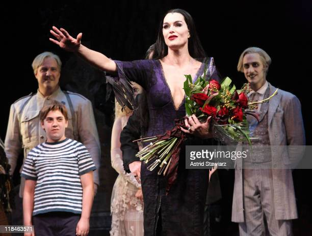 Brooke Shields joins the broadway cast Of The Addams Family and speaks during curtain call at the LuntFontanne Theatre on July 7 2011 in New York City