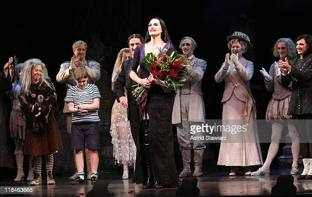 Brooke Shields joins the broadway cast Of 'The Addams Family' and speaks during curtain call at the LuntFontanne Theatre on July 7 2011 in New York...