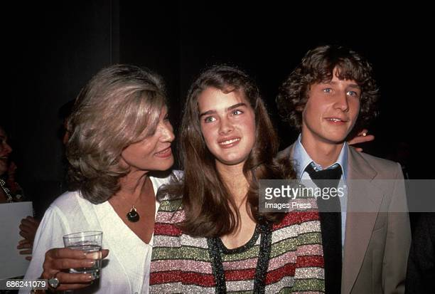 Brooke Shields Lauren Bacall and her son Sam Robards circa 1981 in New York City