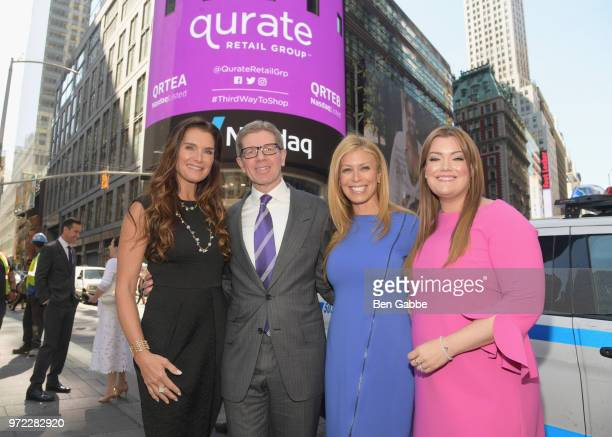 Brooke Shields Mike George Jill Martin and Jamie Kern Lima attend the 'New Qurate Retail Group' Opening Bell Ceremony at NASDAQ MarketSite on June 12...