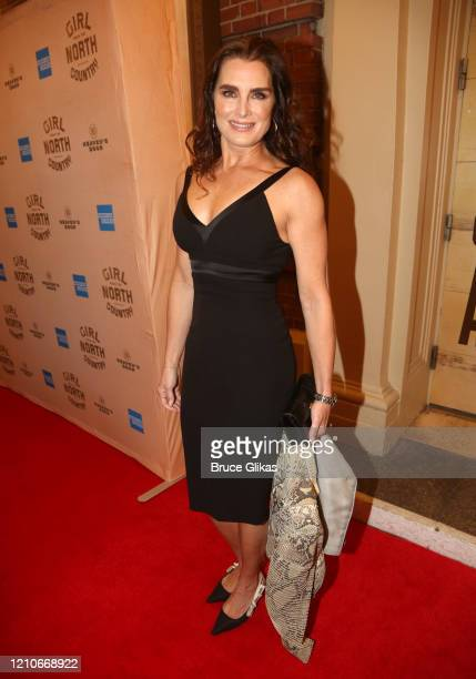 Brooke Shields poses at the opening night of the new Bob Dylan Musical Girl From The North Country on Broadway at The Belasco Theatre on March 5 2020...