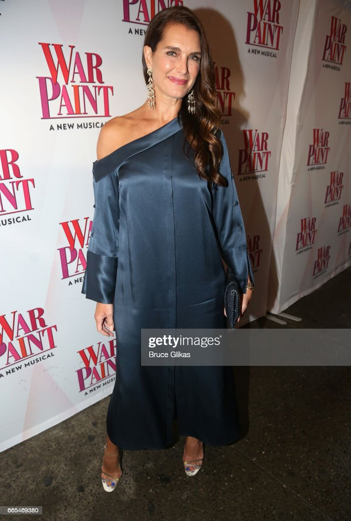 Brooke Shields poses at the opening night of the new musical 'War Paint' on Broadway at The Nederlander Theatre on April 6, 2017 in New York City.