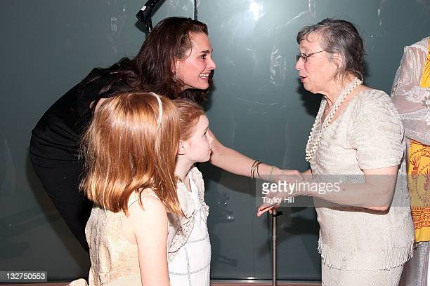 Brooke Shields Rowan Francis Henchy and Grier Hammond Henchy congratulate former death row inmate Sonia Sunny Jacobs after her wedding at the 2011...