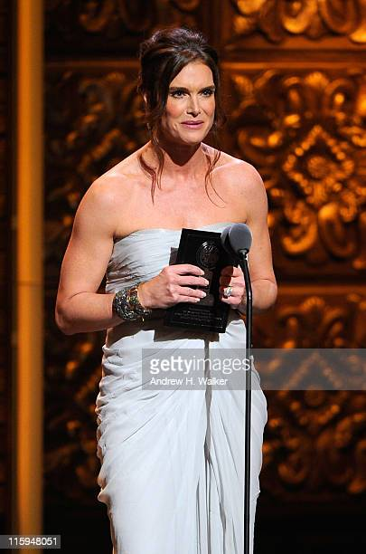 Brooke Shields speaks on stage during the 65th Annual Tony Awards at the Beacon Theatre on June 12 2011 in New York City