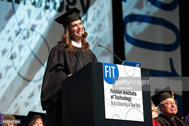 Brooke Shields speaks onstage during the Fashion Institute of Technology Commencement 2015 at the Jacob K Javits Convention Center on May 21 2015 in...