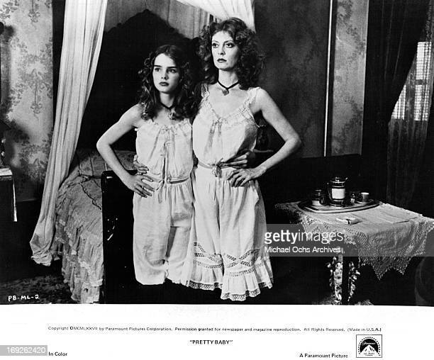 Brooke Shields stands next to Susan Sarandon in a scene from the film 'Pretty Baby' 1978