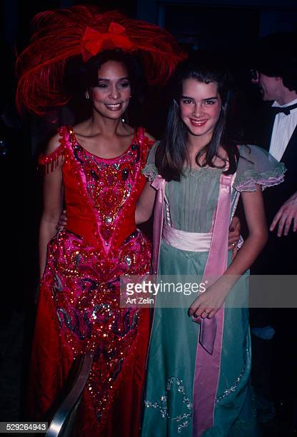 Brooke Shields with Jayne Kennedy both in costumes circa 1970 New York