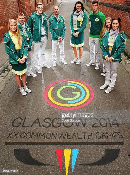 Brooke Stratton, Grant Nel, Mack Horton, Steve Moneghetti, Bianca Chatfield, Jeff Riseley, Sarah Cardwell and Belinda Hocking pose during the 2014...