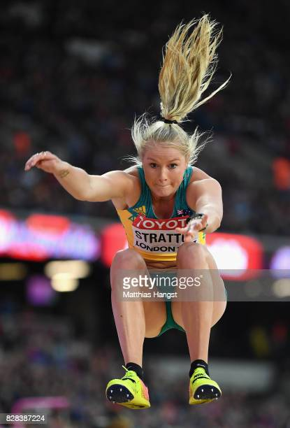 Brooke Stratton of Australia competes in the Women's Long Jump qualification during day six of the 16th IAAF World Athletics Championships London...