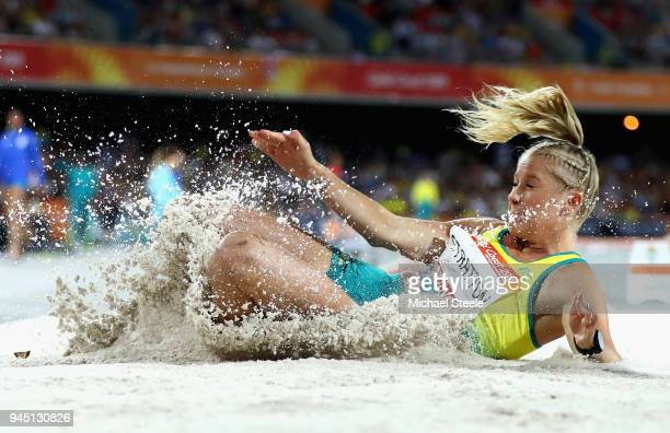 Brooke Stratton of Australia competes in the Women's Long Jump final during athletics on day eight of the Gold Coast 2018 Commonwealth Games at...