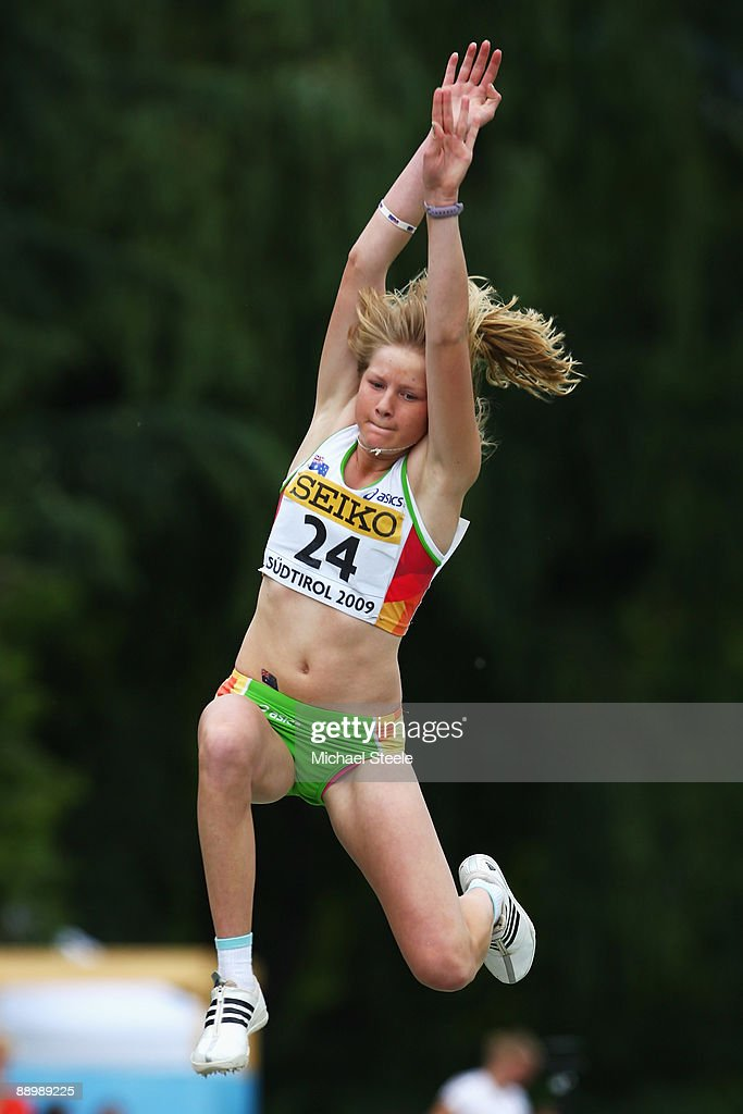 Brooke Stratton of Australia in the girl's long jump final during day five of the Iaaf World Youth Championships at the Bressanone Sports Complex on July 12, 2009 in Brixone Bressanone, Italy.