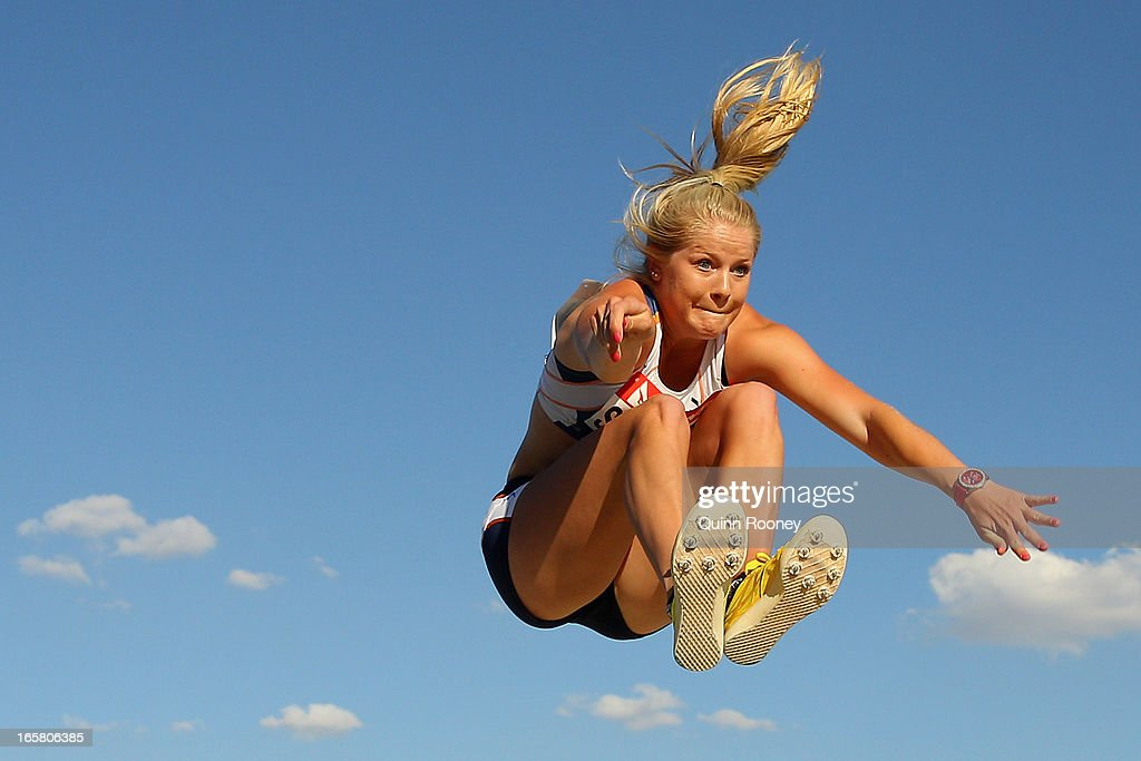 Brooke Stratton of Australia jumps in the Women's Long Jump during the 2013 Melbourne Track Classic at Olympic Park on April 6, 2013 in Melbourne, Australia.