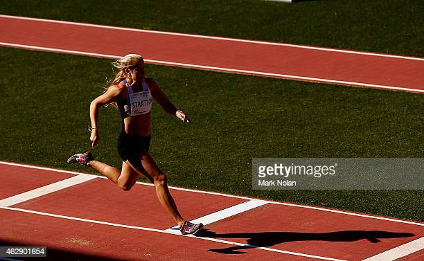 Brooke Stratton of Queensland competes in the womens long jump during the 2015 Canberra Track Classic on February 7 2015 in Canberra Australia