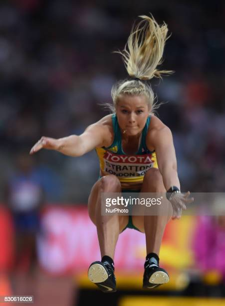 Brooke Strattonof Australia jumps in the long jump final in London at the 2017 IAAF World Championships athletics at the London Stadium in London on...