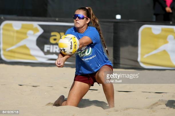 Brooke Sweat digs the ball during her match against Aurora Davis and Bree Scarbrough at the AVP Championships in Chicago Day 3 on September 2 2017 in...