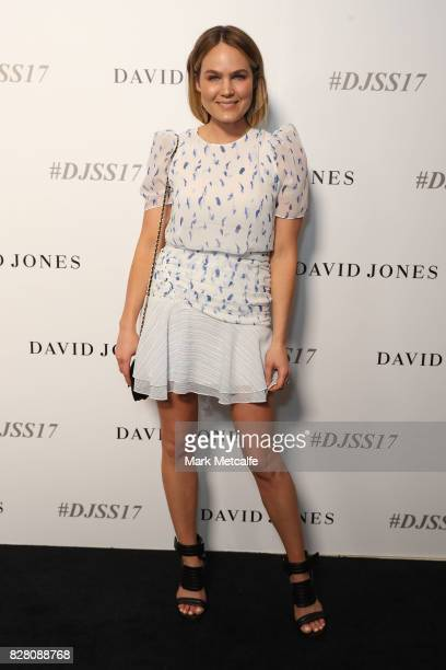 Brooke Testoni arrives ahead of the David Jones Spring Summer 2017 Collections Launch at David Jones Elizabeth Street Store on August 9 2017 in...
