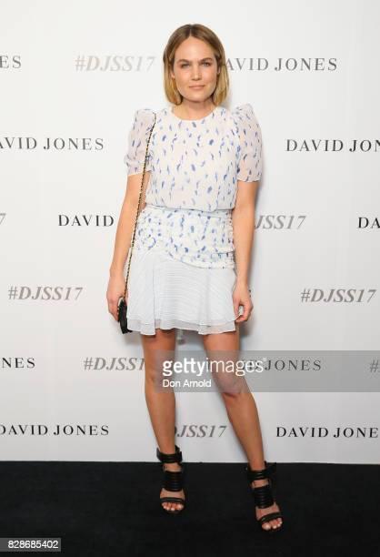 Brooke Testoni arrives ahead of the David Jones Spring Summer 2017 Collections Launch at David Jones Elizabeth Street Store on August 9 2017 in...
