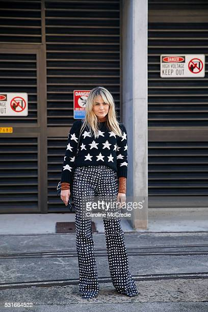 Brooke Testoni wearing Max Mara arrives ahead of the Ginger and Smart show at MercedesBenz Fashion Week Resort 17 Collections at Carriageworks on May...