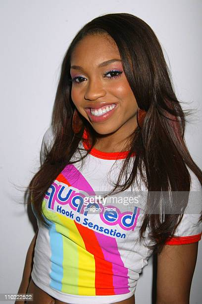 Brooke Valentine during Ashton Kutcher Michelle Trachtenberg Brooke Valentine and Big Boi Visit MTV's TRL March 15 2005 at MTV Studios in New York...