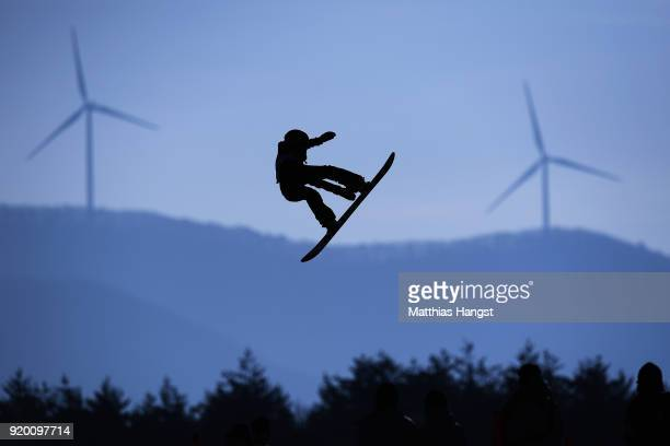 Brooke Voigt of Canada practices prior to the Snowboard Ladies' Big Air Qualification on day 10 of the PyeongChang 2018 Winter Olympic Games at...