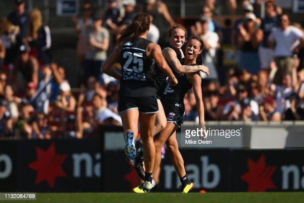 Brooke Walker of the Blues celebrates after kicking a goal during the AFLW Preliminary Final match between the Carlton Blues and the Fremantle...