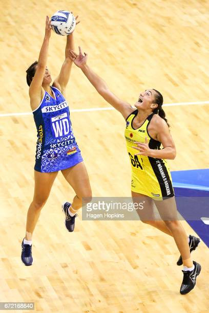 Brooke Watt of the Mystics and Tiana Metuarau of the Pulse compete for the ball during the New Zealand Premiership match between the Pulse and the...