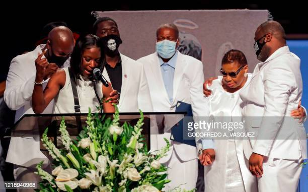 Brooke Williams niece of George Floyd speaks during the funeral service for her uncle at The Fountain of Praise Church on June 9 in Houston George...