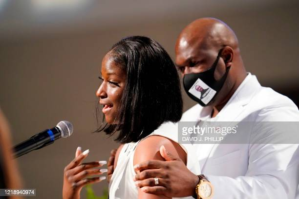 Brooke Williams, niece of George Floyd, speaks during the funeral service for her uncle at The Fountain of Praise Church on June 9 in Houston. -...