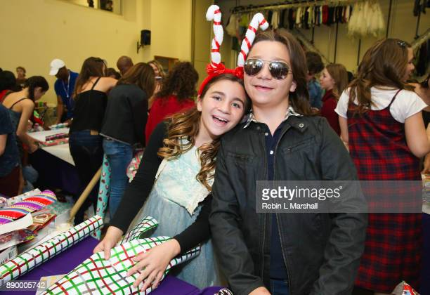Brooklyn and Bryson Robinson attend Chandler's Friends Toy Drive And Wrapping Party at Los Angeles Ballet Academy on December 10 2017 in Encino...