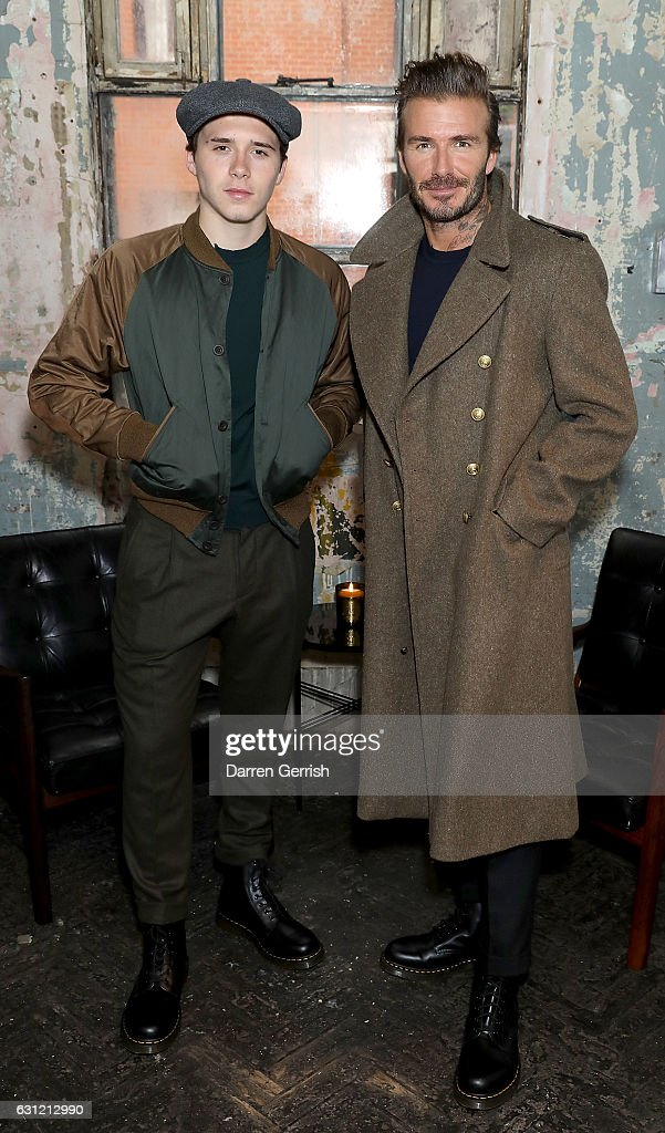Brooklyn and David Beckham attend the launch of the Kent & Curwen collection during London Fashion Week Men's January 2017 collections at Oxo Tower Wharf on January 8, 2017 in London, England.
